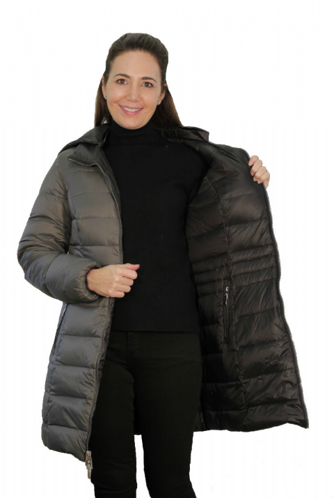 Womens Charcoal-Black Reversible Feather Down Padded Coat db924